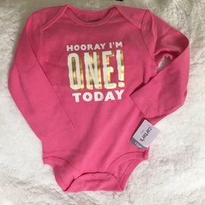 Girl's First Birthday Long Sleeve Onesie